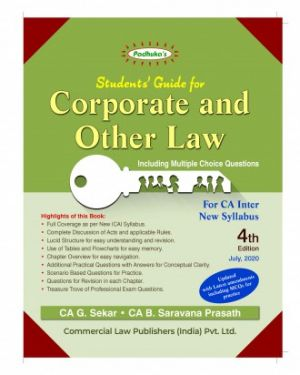 CA Inter Group 1 Paper 2 Padhuka's Students' Guide for Corporate and Other Law - G. Sekar B. Saravana Prasath