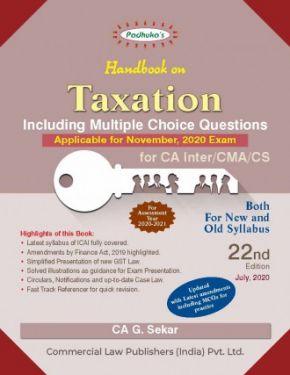 CA Inter Group 1 Paper 4 Padhuka's Handbook On Taxation - G. Sekar